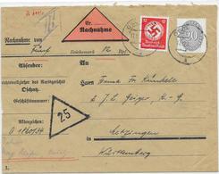 DR Dienst Brief Nachnahme Oschatz 17.12.34 Mif. Mi.126,138 - Allemagne