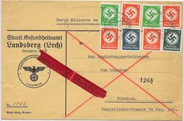 DR Dienst Brief Eil Staatl. Gesundheitsamt Landsberg Mif. Mi.133,134,135,136, 2.2.39 An Den Regierungspräsidenten Von Mü - Allemagne