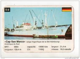 """FICHE-CARTE . """" CAP SAN MARCO """" . CARGO FRIGORIFIQUE DE LA Sté HAMBOURG-AMÉRIQUE DU SUD - Réf. N°12063 - - Boats"""