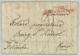 N°43 ARMEE D'ALLEMAGNE / LàC 1809 De Linz à Bourg-St-Andéol . Long Texte De Folard, Aide De Camp Du Général Demont . - Marcofilia (sobres)