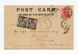 !!! PRIX FIXE CPA DE NEW SOUTH WALES DE 1904 TAXEE A L'ARRIVEE EN NOUVELLE CALEDONIE AVEC PAIRE DE TAXES CINQUANTENAIRE - Neukaledonien