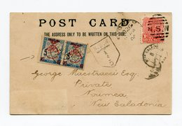 !!! PRIX FIXE CPA DE NEW SOUTH WALES DE 1904 TAXEE A L'ARRIVEE EN NOUVELLE CALEDONIE AVEC PAIRE DE TAXES CINQUANTENAIRE - Nueva Caledonia