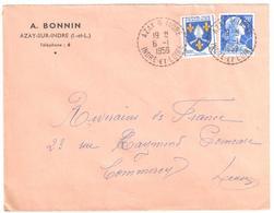 AZAY S INDRE Indre Loire  20F Muller 5F Saintonge Ob 1959 Cercle Pointillé Recette Distribution Lautier B7 Yv 1011B 1005 - France