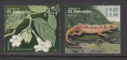 2003 El Salvador Flora Fauna Flowers Lizards Reptiles Complete Set Of 2 MNH - El Salvador