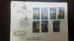 O) 1967 SAN MARINO, FLOWERS AND VARIUS VIEWS OF MT TITANO - GOVERNMENTAL PHILATELIC OFFICE, REGISTERED TO PIAZZA STAZION - FDC