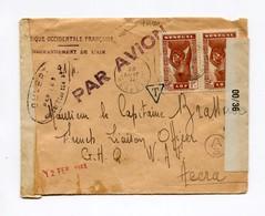!!! PRIX FIXE : SENEGAL, LETTRE PAR AVION A EN-TETE COMMANDEMENT DE L'AIR DE 1944 POUR ACCRA, AVEC CENSURES - Sénégal (1887-1944)