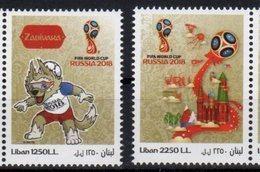 LEBANON, 2018, MNH, SOCCER, FOOTBALL, RUSSIA WORLD CUP, 2v - 2018 – Russia