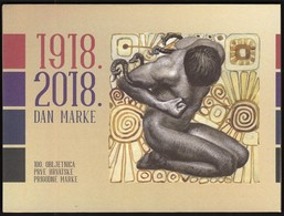 Croatia 2018 / Stamp Day - 100th Anniversary Of The First Croatian Commemorative Postage Stamp / Block + FDC In Folder - Dag Van De Postzegel