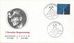 Deutschland: Brief 1965: 1. Deutscher Bergmannstag Duisburg/Essen 4.9+5.9.1965 #PK - Covers & Documents