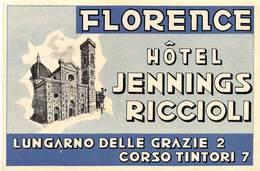 "07490 ""HÔTEL JENNINGS / RICCIOLI - FLORENCE"" ETICH. ORIG. LAB - Hotel Labels"