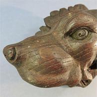 ~ SCULPTURE TETE DE CHIEN EN CHENE - Animal Sculpteur Statue Art Populaire - Wood