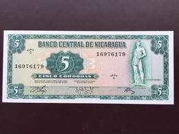 NICARAGUA P122 5 CORDOBAS 1973 UNC - Nicaragua