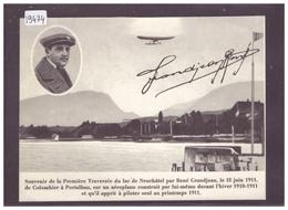 FORMAT 10x15cm - AVIATION - RENE GRANDJEAN LE 18 JUIN 1911 SUR LE LAC DE NEUCHATEL - TB - Suisse
