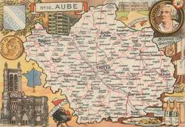 "CPSM FRANCE 10 ""Aube"" / CARTE GEOGRAPHIQUE - France"