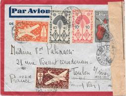 Lettre Madagascar Nossi-bé 1945 Censure Censor Geoffnet - Madagascar (1889-1960)