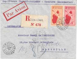 Lettre Madagascar Tamatave 1936 - Madagascar (1889-1960)