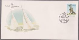 Australia Cup-pex Americas Cup # 24 Series 1977 Australia V Courageous Yacht Cover - Primo Giorno D'emissione (FDC)