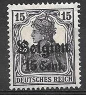 1916 German Occupation 15c On 15pf, Dark Violet, Mint Light Hinged - WW I