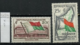 Madagascar - Madagaskar 1959 Y&T N°338 à 339 - Michel N°442 à 443 * - Série Proclamation De La République - Madagascar (1960-...)