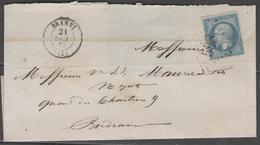 Gironde:  G.C.598 Sur N°22 + CàD BRANNE(32) Sur LSC (incomplète) De 1863 - Marcophilie (Lettres)