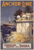 Scottish Navigation Postcard Anchor Line Gibraltar-Egypt-India 1936 - Reproductions - Advertising