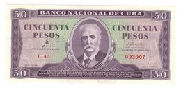 Cuba 50 Pesos 1961, AUNC/UNC. - Cuba