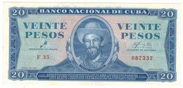 Cuba 20 Pesos 1961, AUNC/UNC. - Cuba