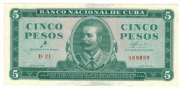 Cuba 5 Pesos 1961, AUNC/UNC. - Cuba