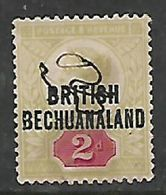 Bechuanaland, 1891, Opt On 2d Of Great Britain, Used, M/s (fiscal?) - Bechuanaland (...-1966)