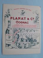 PLANAT & C° - COGNAC ( Carte 10,5 X 13,5 Cm.) Anno 19?? ( Zie/voir Photo ) ! - Publicités
