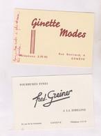 2 CARTES DE VISTE EN SUISSE A GENEVE - Cartoncini Da Visita