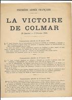COLMAR...la Victoire De COLMAR...1945......DEPLIANT DE 2 PAGES 1ERE ARMEE FRANCAISE.... - Historische Documenten