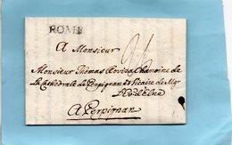 """Bureau Français De """"ROME""""23X5mm,L.A.C. Du 20/9/1786 Pour PERPIGNAN. - Poststempel (Briefe)"""