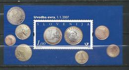 Slovenia 2007 The Introduction Of The Euro.S/S MNH - Coins - Slovénie