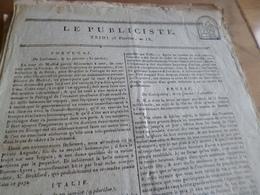 Journal Révolution Le Publiciste 25 Pluviose An IX France, Italie, Portugal, Russie, Prusse,.... - Giornali