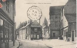 Carte Postale Ancienne De Aubigny La Place Du Vieux Marché - Aubigny Sur Nere