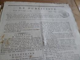 Journal Révolution Le Publiciste 18 Ventose An VI  1798 France, Allemagne, Angleterre, ,.... - Zeitungen - Vor 1800