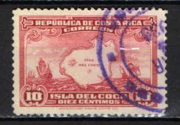 COSTARICA - 1936 - MAPPA DELLE COCO ISLAND E CARAVELLE DI CRISTOFORO COLOMBO - USATO - Costa Rica