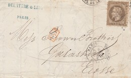 LETTRE. 8 AOUT 70. DELATTRE & LIZÉ. SOIERIES. PARIS ETOILE 1. PD POUR L'ECOSSE GALASHIELS - Poststempel (Briefe)
