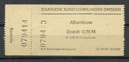 DEUTSCHLAND DDR 1988 Staatliche Kunstsammlungen Dresden Eintrittskarte Ticket - Eintrittskarten