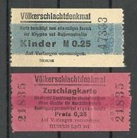 DEUTSCHLAND DDR 1988 Völkerschlachtdenkmal 2 Eintrittskarten Ticket - Eintrittskarten