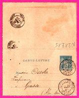 Carte Lettre 15 C Sage Bleu - Entier Postal - Oblit. Robert Espagne ( 55 ) Vers Grasse - Pour OSSOLA Parfumeur - 1891 - Biglietto Postale