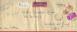 LETTERA VG ITALIA - RACCOMANDATA ESPRESSO - Siracusana £ 10 + 80 - 12 X 32 - ANN. 1957 ROMA - CIVIDALE - Express/pneumatic Mail