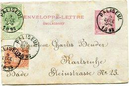 BELGIQUE ENTIER POSTAL AVEC AFFRANCHISSEMENT COMPLEMENTAIRE DEPART PALISEUL 9 DECE 1895 POUR BADE - Entiers Postaux