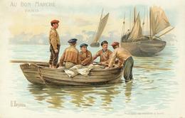 Pêche , Pêcheurs ...Pour Décorer La Chambre D'un Enfant De Marin ... SERIE 6 Grandes Chromos 23 X 15 ... Au Bon Marché - Au Bon Marché