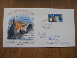 S019: FDC:FLORENCE NIGHTINGALE 1820-1910. The Lady With The Lamp. 150th Anniversary Of Her Birth. 9d 1 Apr 1970. - FDC