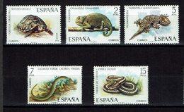 SERIE 5 TIMBRES ESPAGNE 1974 MNH - REPTILES AMPHIBIEUX - Reptiles & Anfibios