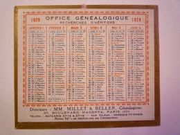 """PETIT CALENDRIER  1929  """"OFFICE GENEALOGIQUE""""   Format  12,5 X 10,5cm   - Kalenders"""