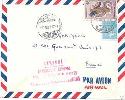 Lettre Cambodge Phnompenh Censure Censor Geoffnet 1971 - Cambodia