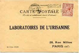 GRANDE-BRETAGNE CARTE POSTALE LABORATOIRES DE L'URISANINE BON POUR UN FLACON ECHANTILLON D'.. DEPART LONDON MAR 4  1926 - 1902-1951 (Könige)